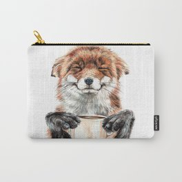 """ Morning fox "" Red fox with her morning coffee Carry-All Pouch"