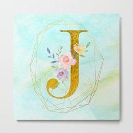 Gold Foil Alphabet Letter J Initials Monogram Frame with a Gold Geometric Wreath Metal Print
