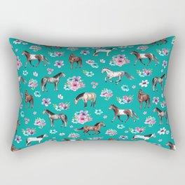 Horse Pattern, Floral Print, Turquoise, Little Girls Room, Horses Rectangular Pillow