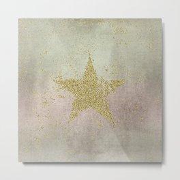 Sparkling Glamorous Golden Star Metal Print