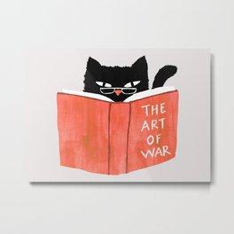 Cat reading book Metal Print