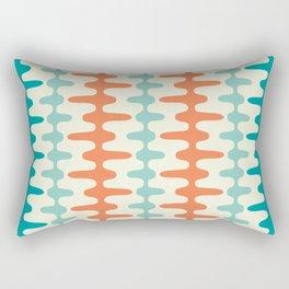 Retro Mid Century Modern Trellis Print Orange and Teal Rectangular Pillow
