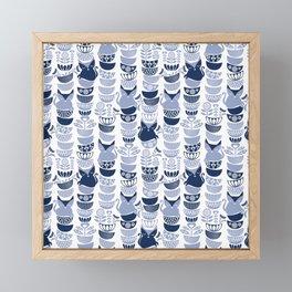 Swedish folk cats III // white background pale and navy blue kitties & bowls Framed Mini Art Print