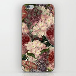 Vintage & Shabby Chic Pink Dark Floral Roses Lilacs Flowers Watercolor Pattern iPhone Skin