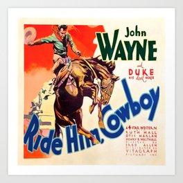 John Wayne Ride Em Cowboy Vintage Movie Poster Print Art Print