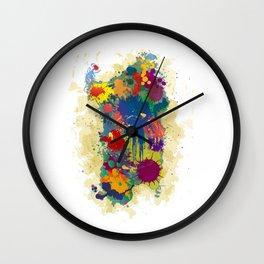 Sardinia, paint drops map Wall Clock