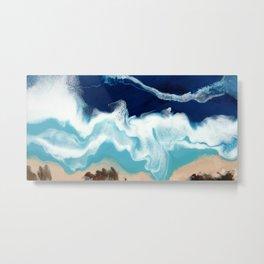 Tsambou, Samos beach, Greece, Resin abstract painting, Seascape art Metal Print