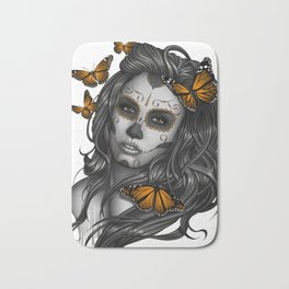 Sugar Skull Tattoo Girl with Butterflies Bath Mat