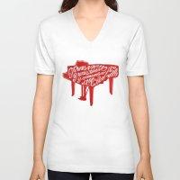 lyrics V-neck T-shirts featuring Piano lyrics by saralucasi