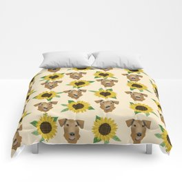 Airedale Terrier Sunflower floral print cute dogs and flowers design Comforters