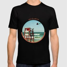 Come fly with me Black MEDIUM Mens Fitted Tee