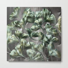 Ginko Leaves on Gray Abstract Metal Print