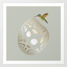 Hummingbird and Bubble Art Print