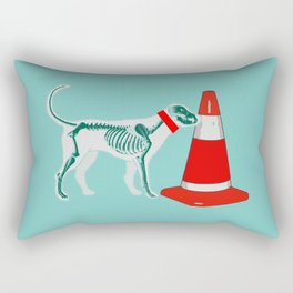 DOG SNIFING TRAFFIC RUBBER CONE Rectangular Pillow
