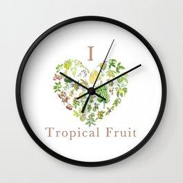 Tropical Fruit Love Heart Wall Clock