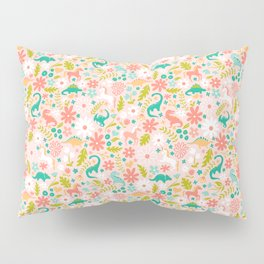 Dinosaurs + Unicorns in Pink + Teal Pillow Sham
