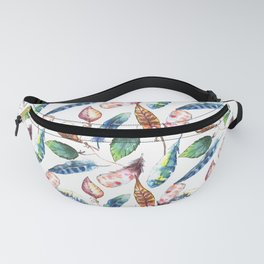 Feathers Pattern Colorful watercolor bohemian chic Fanny Pack
