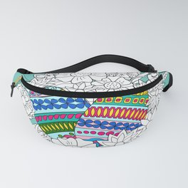Easter ornamental eggs in the basket with flowers Fanny Pack