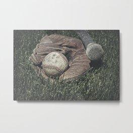 Vintage Baseball in Catcher's Mitt 2 Metal Print