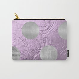 Cute big silver polka dots on purple background Carry-All Pouch