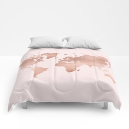 Rose Gold World Map Comforters