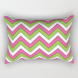 Pink Green and White Chevrons Rectangular Pillow