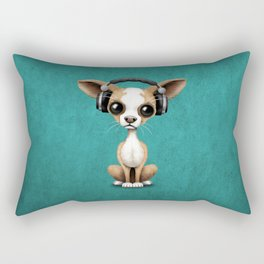 Cute Chihuahua Puppy Dog Wearing Headphones on Blue Rectangular Pillow