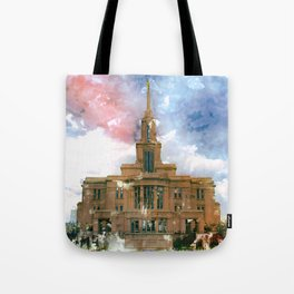 Payson LDS Temple Watercolor Photo Tote Bag