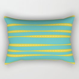 Abstract wavy stripes in mustard yellow, turquoise, off-white Rectangular Pillow
