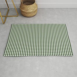 Small Dark Forest Green and White Gingham Check Rug