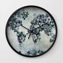 world map floral black and white Wall Clock