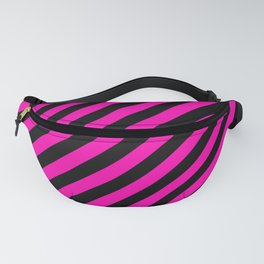 Bright Hot Neon Pink and Black Candy Cane Stripes Fanny Pack