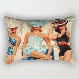 Retro Sunbathers Rectangular Pillow