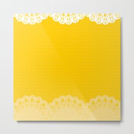 Mustard Yellow Lace Metal Print