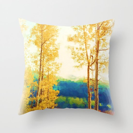Faded Aspens Throw Pillow