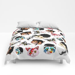 Pop Cats - Pattern on White Comforters