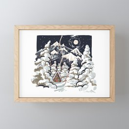 Winter cabin Framed Mini Art Print