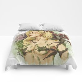 """Watercolor Painting of Picture """"Profile Woman"""" Comforters"""