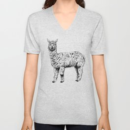 Cute Alpaca Illustration Unisex V-Neck