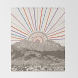 Summerlin Mountain // Abstract Vintage Mountains Summer Sun Vibe Drawing Happy Wall Hanging Throw Blanket