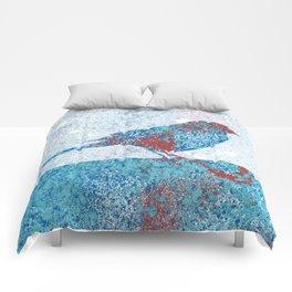 Blue Bird in Winter Comforters