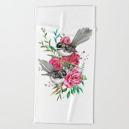 Floral Piwakawakas Beach Towel