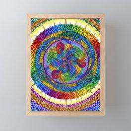 Psychedelic Dragons Rainbow Spirals Mandala Framed Mini Art Print