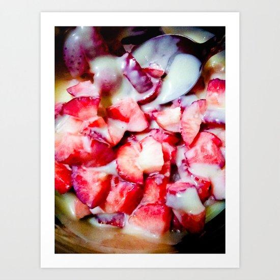 Strawberries and Sweet Condensed Milk Art Print