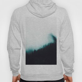 Misty Pine Forest Turquoise Teal Watercolor Fog Minimalist Modern Landscape Photography Hoody