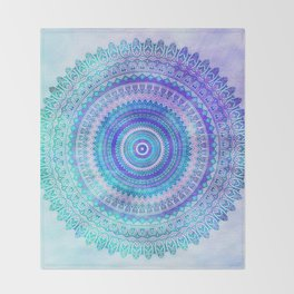 Blue Turquoise And Purple Watercolor Mandala Art Throw Blanket