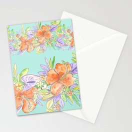 tropical hawaiian flowers aqua Stationery Cards