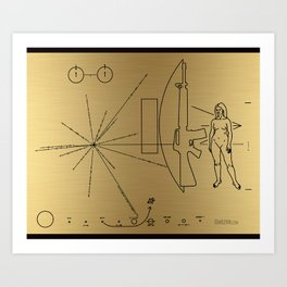 We Come With Piece (Pioneer probe plaque) by Dan Levin Art Print