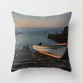 Boat in the dock Throw Pillow