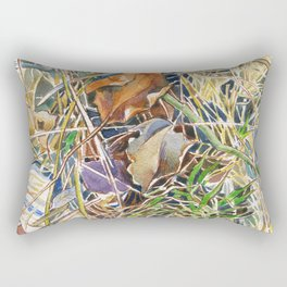 ground beneath my feet in spring: dry leaves, twigs and growing grass Rectangular Pillow